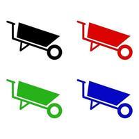 Wheelbarrow Icon On White Background vector