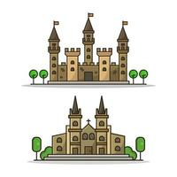 Castle And Church Icon On White Background vector