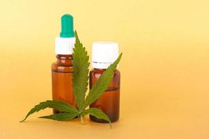 Thc and cbd extract medical cannabis oil, herbal elixir photo