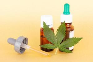 Extract medical cannabis oil, herbal elixir and natural remedy for stress and disease photo