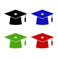 Graduation Hat Icon On White Background vector