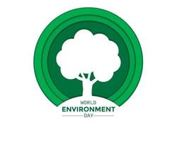 World Environment Day Paper With Tree vector