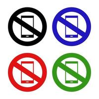 icono de prohibición de teléfono inteligente sobre fondo blanco vector