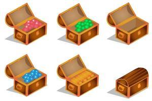 cofre del tesoro isométrico y activo del juego vector