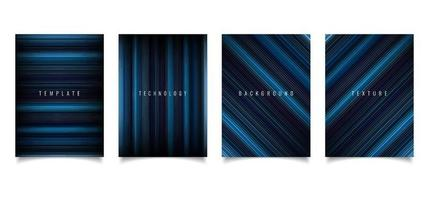 Set of brochure template abstract technology style blue light lines texture on dark background vector