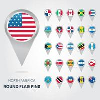 North America Round Flag Pins, Map pointers vector