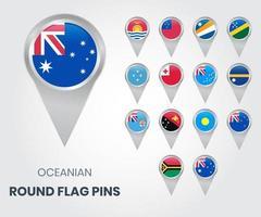 Pines de bandera redondos de Oceanía, punteros de mapa vector
