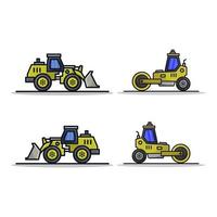 Excavator and Roller Icon On White Background vector