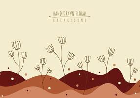 Hand drawn floral line art graphic landscape background. vector