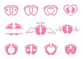 Vector design of newborn baby footprints with heart shape Leave space for adding text.