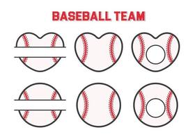 Vector sports monogram. Baseball ball text box Leave a place for the team name text.