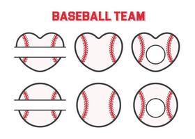 monograma deportivo vectorial. cuadro de texto de pelota de béisbol deje un lugar para el texto del nombre del equipo. vector