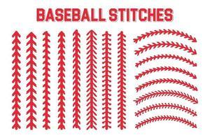 puntadas rojas del diseño de puntadas de béisbol para los amantes del béisbol vector