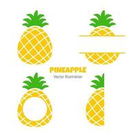 Pineapple fruit in summer. Pineapple text frame Isolated on white background vector
