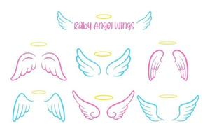 Angel wings design and cute head ring for kids. Isolated on white background vector