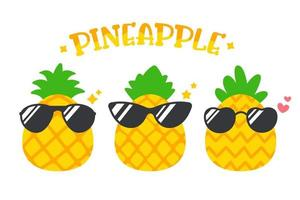 Cartoon pineapple wearing sunglasses in summer Isolated on white background vector
