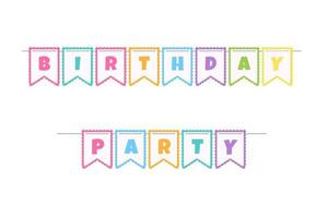 The flags at the children's birthday anniversary party Isolated on white background vector