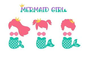 Baby mermaid. A cute girl with a fish tail Isolated on white background vector