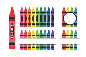 Crayon vector A variety of color crayons arranged Leave space for text.