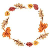 Autumn leaves wreath vector