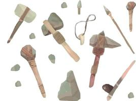 Stone age weapons doodle style. Stone age drawing style vector