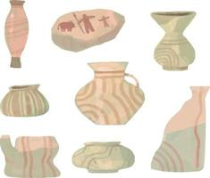 Stone age container doodle style. Stone age drawing style vector