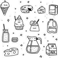 Cheese and milk doodle style. Cheese drawing style vector