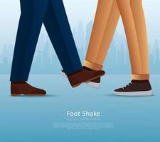 People greeting with foots. Foot shake. Safe greeting to prevent Covid-19 coronavirus vector