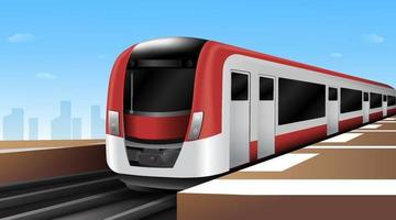 High speed electric trains. Public Transportation in metro city. Vector Illustration.