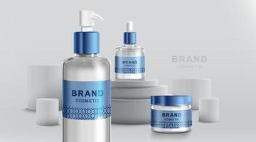 Cosmetic tube and realistic bottle at stage pedestal. Branding and packaging design template. vector illustration