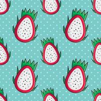 dragon fruit slice seamless pattern illustration vector