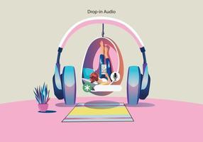 Woman using headphones. Social media concept vector