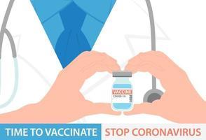 Diseño de banner de vacuna de coronavirus. el médico sostiene una botella de vial de covid-19 en sus manos. ilustración vectorial plana vector