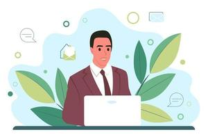 Young man works behind a laptop monitor. Businessman or account manager. Flat vector illustration