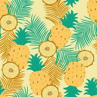 Seamless background with pineapple, its slices and palm leaves. Juicy exotic summer background. Flat vector illustration