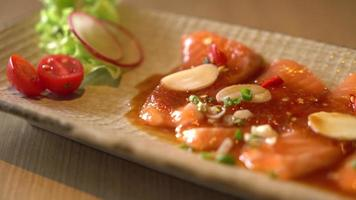 spicy salmon raw sliced - fusion food style