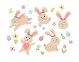 Easter bunny set with cute flowers and eggs. Hand drawn flat cartoon elements. Vector illustration