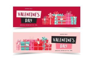 Valentine's Day banners with gifts and lettering. Vector illustration in flat style