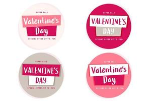 Valentine's Day sale label template with hand drawn lettering, vector illustration
