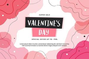 Valentine's Day sale banner with abstract shapes. Vector illustration