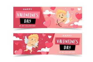 Valentine's Day banners with cupid character. Vector illustration in flat style