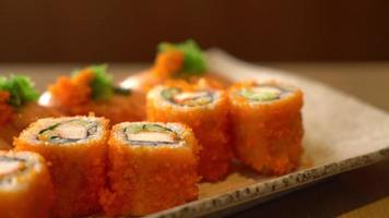 Japanese Salmon Sushi with Salmon Maki Roll