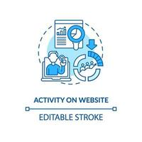 Activity on website blue concept icon vector