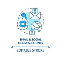 Email and social media account blue concept icon vector