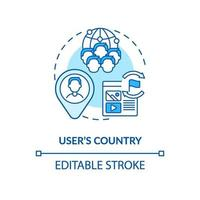User country blue concept icon vector