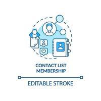 lista de contactos membresía concepto azul icono vector