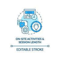 On site activities and session length blue concept icon vector
