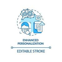 Enhanced personalization blue concept icon vector
