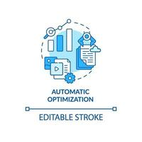Automatic optimization blue concept icon vector