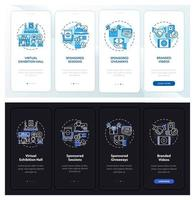 Sponsorship distant meetings onboarding mobile app page screen with concepts vector